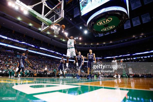 Jeff Green of the Boston Celtics goes up for a layup in the first quarter against the Memphis Grizzlies during the game at TD Garden on November 27,...