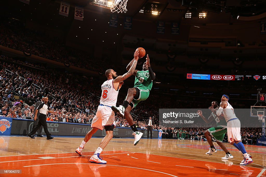 Jeff Green #8 of the Boston Celtics goes up for the layup against Tyson Chandler #6 of the New York Knicks in Game Two of the Eastern Conference Quarterfinals during the 2013 NBA Playoffs on April 23, 2013 at Madison Square Garden in New York City.