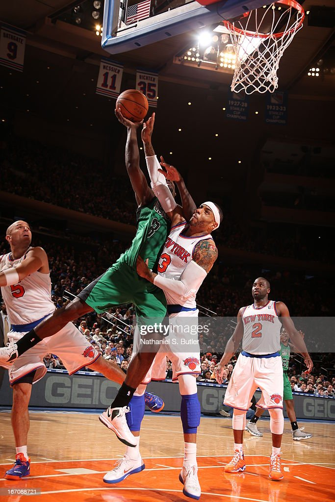 Jeff Green #8 of the Boston Celtics goes up for the shot against Kenyon Martin #3 of the New York Knicks on March 31, 2013 at Madison Square Garden in New York City.
