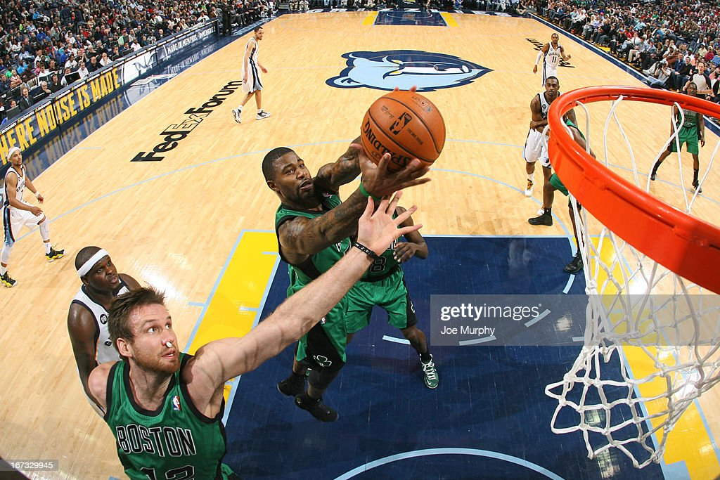 Jeff Green #8 of the Boston Celtics grabs a rebound against against the Memphis Grizzlies on March 23, 2013 at FedExForum in Memphis, Tennessee.
