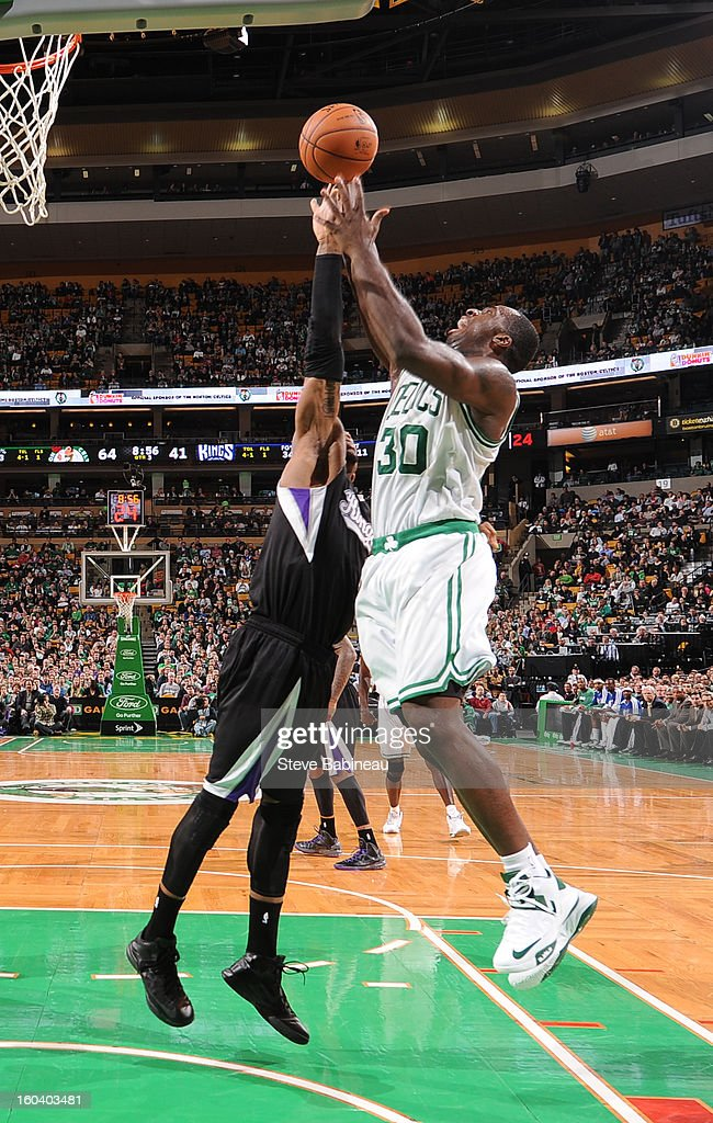 Jeff Green #8 of the Boston Celtics grabs the rebound against the Sacramento Kings on January 30, 2013 at the TD Garden in Boston, Massachusetts.