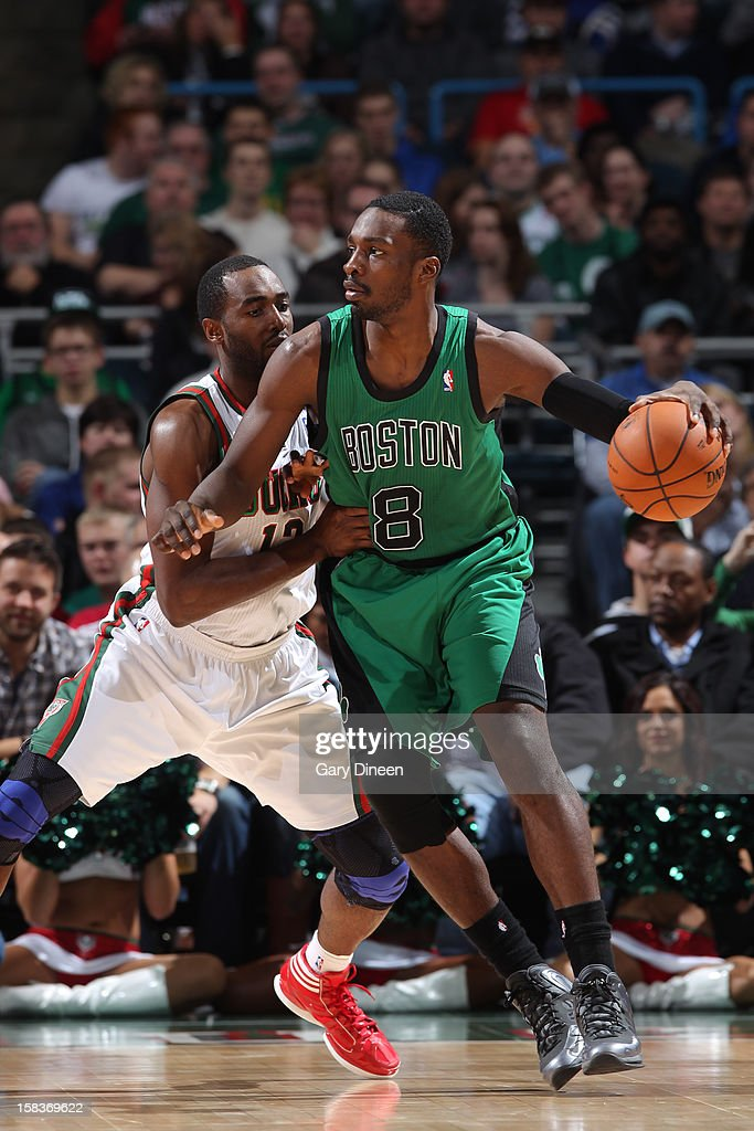 Jeff Green #8 of the Boston Celtics handles the ball against Luc Richard Mbah a Moute #12 of the Milwaukee Bucks on December 1, 2012 at the BMO Harris Bradley Center in Milwaukee, Wisconsin.