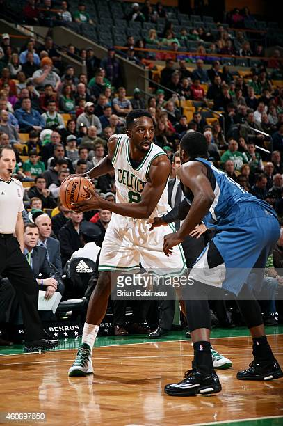 Jeff Green of the Boston Celtics handles the ball against the Minnesota Timberwolves on December 19 2014 at the TD Garden in Boston Massachusetts...