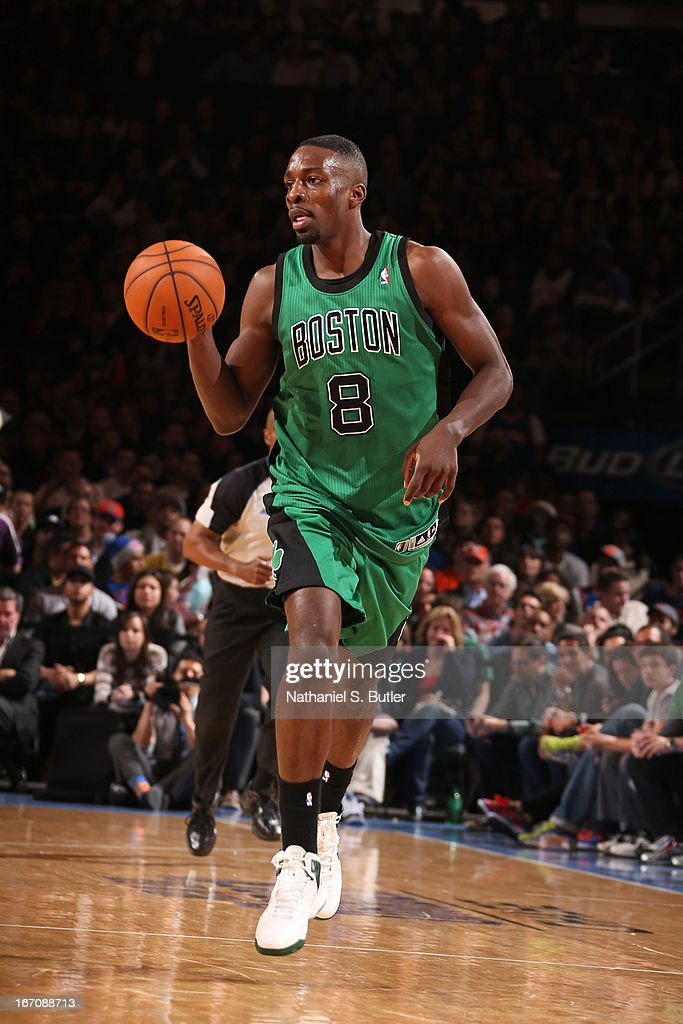 Jeff Green #8 of the Boston Celtics pushes the ball up the court against the New York Knicks on March 31, 2013 at Madison Square Garden in New York City.