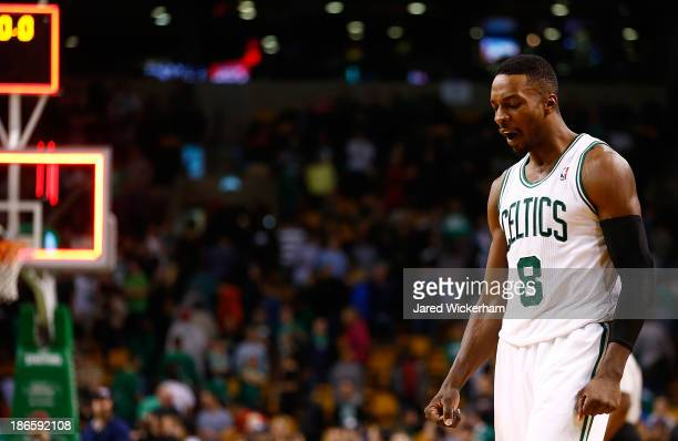 Jeff Green of the Boston Celtics reacts following their 10598 to the Milwaukee Bucks during the home opener at TD Garden on November 1 2013 in Boston...