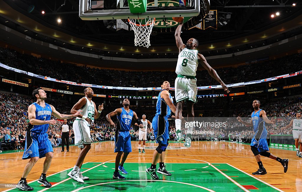 Jeff Green #8 of the Boston Celtics rises for a dunk against the Orlando Magic on February 1, 2013 at the TD Garden in Boston, Massachusetts.