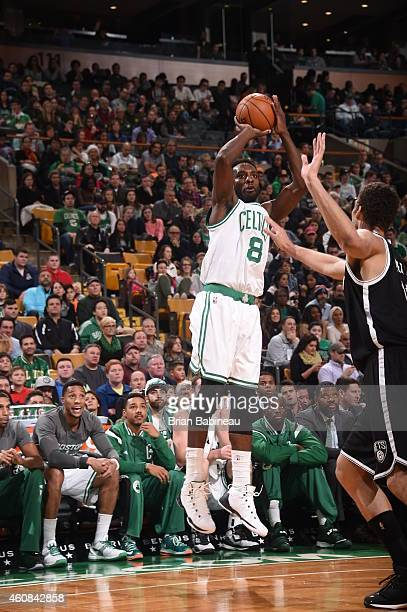 Jeff Green of the Boston Celtics shoots the ball against the Brooklyn Nets during the game on December 26 2014 at the TD Garden in Boston...