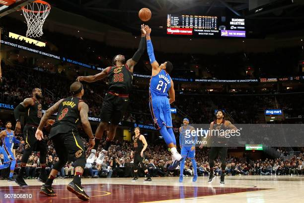 Jeff Green of the Cleveland Cavaliers and Andre Roberson of the Oklahoma City Thunder battle for a rebound during the second quarter at Quicken Loans...
