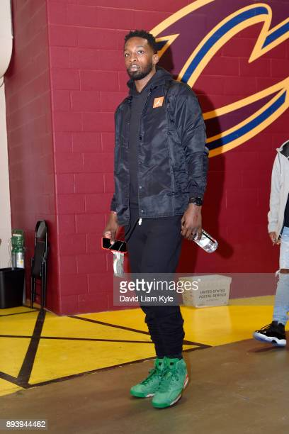 Jeff Green of the Cleveland Cavaliers arrives at the arena prior to the game against the Utah Jazz on December 16 2017 at Quicken Loans Arena in...