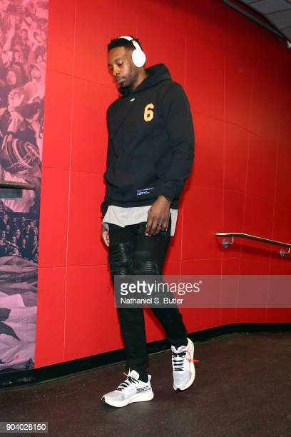 Jeff Green of the Cleveland Cavaliers arrives before the game against the Toronto Raptors on January 11 2018 at the Air Canada Centre in Toronto...