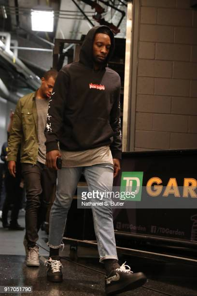 Jeff Green of the Cleveland Cavaliers arrives before the game against the Boston Celtics on February 11 2018 at TD Garden in Boston Massachusetts...