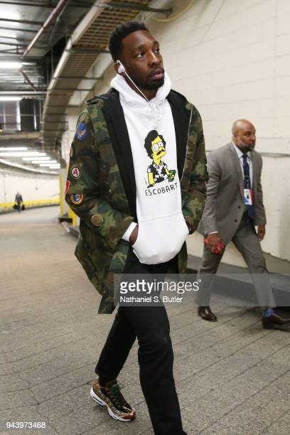 Jeff Green of the Cleveland Cavaliers arrives before the game against the New York Knicks on April 9 2018 at Madison Square Garden in New York City...