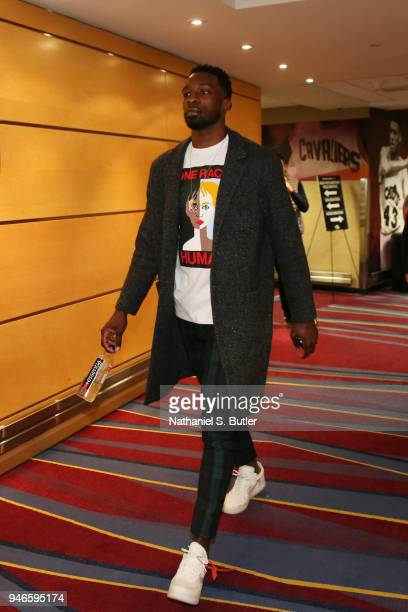 Jeff Green of the Cleveland Cavaliers arrives to the arena prior to Game One of Round One of the 2018 NBA Playoffs against the Indiana Pacers on...