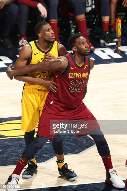 Jeff Green of the Cleveland Cavaliers boxes out against the Indiana Pacers in Game Four of Round One of the 2018 NBA Playoffs on April 22 2018 at...