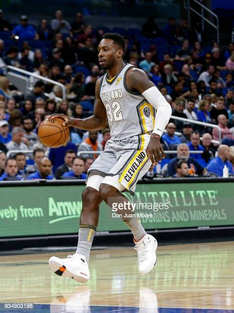 Jeff Green of the Cleveland Cavaliers bring the ball up court during the game against the Orlando Magic at the Amway Center on February 6 2018 in...