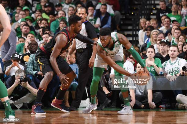 Jeff Green of the Cleveland Cavaliers defends against Jaylen Brown of the Boston Celtics during the game between the two teams on February 11 2018 at...
