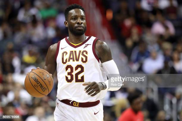 Jeff Green of the Cleveland Cavaliers dribbles the ball against the Washington Wizards at Capital One Arena on November 3 2017 in Washington DC NOTE...