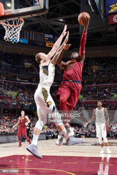 Jeff Green of the Cleveland Cavaliers drives to the basket against the Indiana Pacers on November 1 2017 at Quicken Loans Arena in Cleveland Ohio...