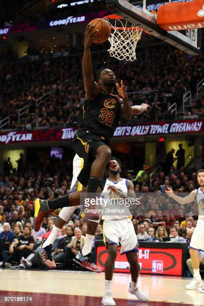 Jeff Green of the Cleveland Cavaliers drives to the basket against the Golden State Warriors during Game Four of the 2018 NBA Finals at Quicken Loans...
