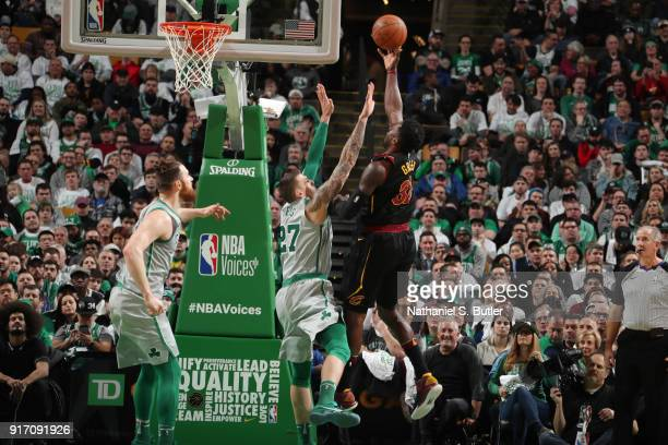 Jeff Green of the Cleveland Cavaliers drives to the basket during the game against the Boston Celtics on February 11 2018 at TD Garden in Boston...