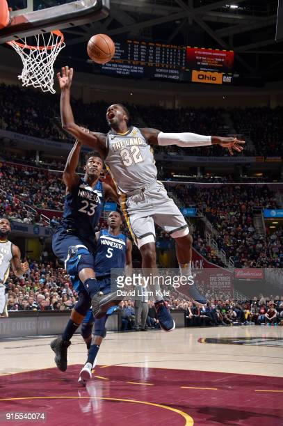 Jeff Green of the Cleveland Cavaliers dunks against the Minnesota Timberwolves on February 7 2018 at Quicken Loans Arena in Cleveland Ohio NOTE TO...