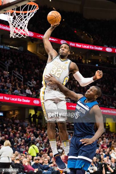 Jeff Green of the Cleveland Cavaliers dunks over Gorgui Dieng of the Minnesota Timberwolves during the second half at Quicken Loans Arena on February...