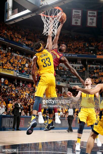 Jeff Green of the Cleveland Cavaliers dunks the ball against the Indiana Pacers in Game Three of Round One of the 2018 NBA Playoffs on April 20 2018...