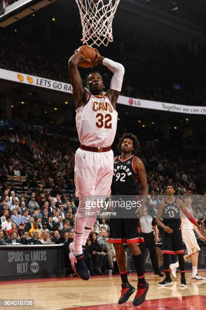 Jeff Green of the Cleveland Cavaliers dunks the ball against the Toronto Raptors on January 11 2018 at the Air Canada Centre in Toronto Ontario...