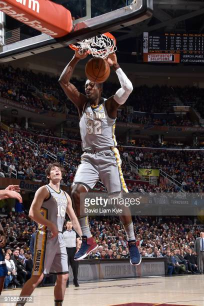 Jeff Green of the Cleveland Cavaliers dunks the ball against the Minnesota Timberwolves on February 7 2018 at Quicken Loans Arena in Cleveland Ohio...