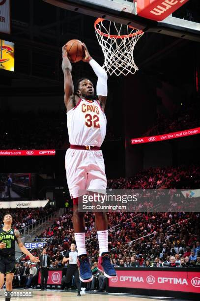 Jeff Green of the Cleveland Cavaliers dunks the ball during the game against the Atlanta Hawks on February 9 2018 at Philips Arena in Atlanta Georgia...