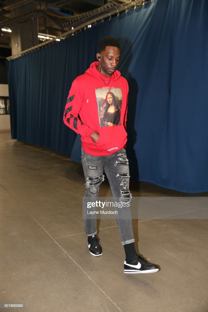 Jeff Green #32 of the Cleveland Cavaliers enters the arena before the game against the Oklahoma City Thunder on February 13, 2018 at Chesapeake Energy Arena in Oklahoma City, Oklahoma.