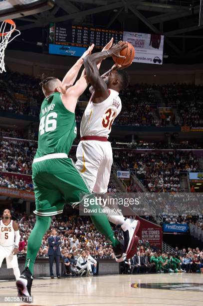 Jeff Green of the Cleveland Cavaliers goes to the basket against the Boston Celtics on October 17 2017 at Quicken Loans Arena in Cleveland Ohio NOTE...