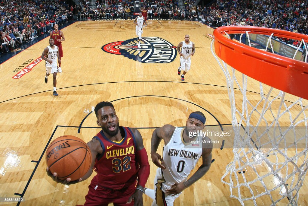 Jeff Green #32 of the Cleveland Cavaliers goes to the basket against the New Orleans Pelicans on October 28, 2017 at the Smoothie King Center in New Orleans, Louisiana.