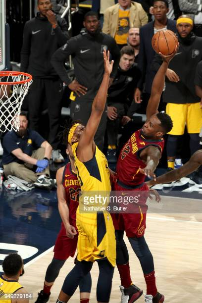 Jeff Green of the Cleveland Cavaliers goes to the basket against the Indiana Pacers in Game Three of Round One of the 2018 NBA Playoffs on April 20...