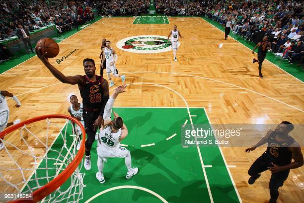Jeff Green of the Cleveland Cavaliers goes to the basket against the Boston Celtics during Game Seven of the Eastern Conference Finals of the 2018...