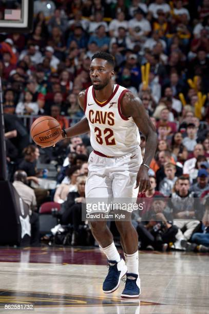 Jeff Green of the Cleveland Cavaliers handles the ball against the Boston Celtics on October 17 2017 at Quicken Loans Arena in Cleveland Ohio NOTE TO...