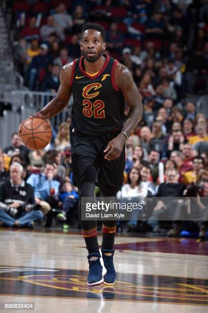 Jeff Green of the Cleveland Cavaliers handles the ball against the Chicago Bulls on December 21 2017 at Quicken Loans Arena in Cleveland Ohio NOTE TO...