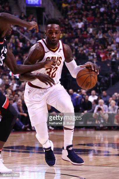 Jeff Green of the Cleveland Cavaliers handles the ball against the Toronto Raptors on January 11 2018 at the Air Canada Centre in Toronto Ontario...