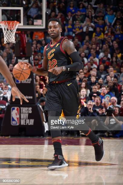Jeff Green of the Cleveland Cavaliers handles the ball against the Golden State Warriors on January 15 2018 at Quicken Loans Arena in Cleveland Ohio...