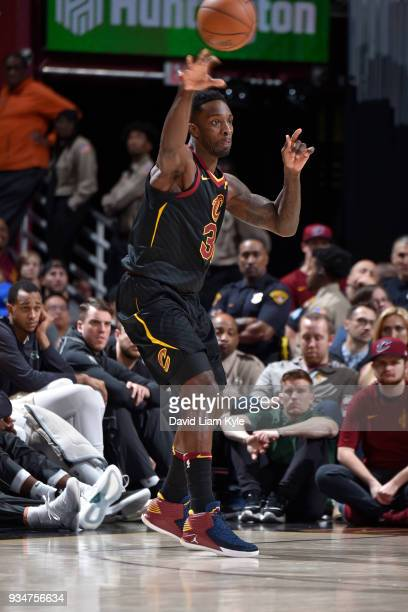 Jeff Green of the Cleveland Cavaliers handles the ball against the Milwaukee Bucks on March 19 2018 at Quicken Loans Arena in Cleveland Ohio NOTE TO...