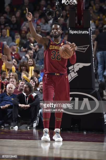 Jeff Green of the Cleveland Cavaliers handles the ball during the game against the Indiana Pacers on November 1 2017 at Quicken Loans Arena in...