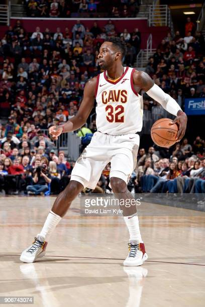 Jeff Green of the Cleveland Cavaliers handles the ball during the game against the Orlando Magic on January 18 2018 at Quicken Loans Arena in...