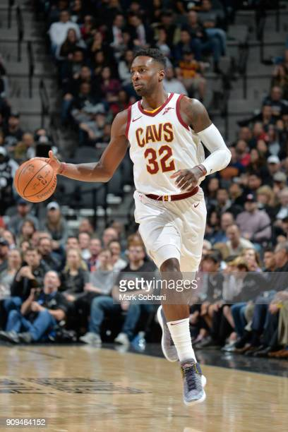 Jeff Green of the Cleveland Cavaliers handles the ball during the game against the San Antonio Spurs on January 23 2018 at the ATT Center in San...