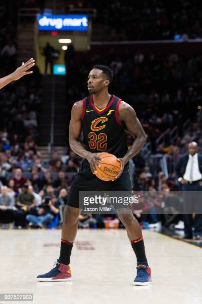 Jeff Green of the Cleveland Cavaliers looks for a pass against the Milwaukee Bucks during the second half at Quicken Loans Arena on March 19 2018 in...