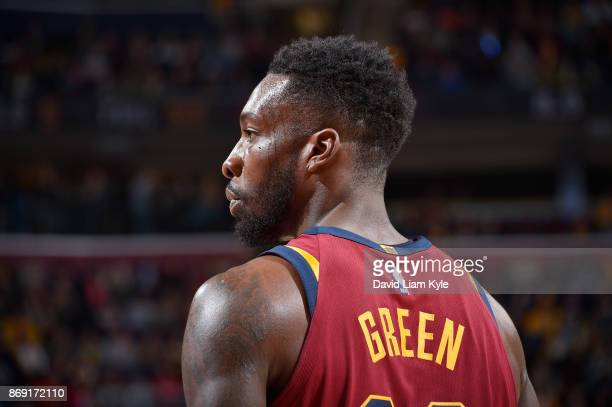 Jeff Green of the Cleveland Cavaliers looks on during the game against the Indiana Pacers on November 1 2017 at Quicken Loans Arena in Cleveland Ohio...