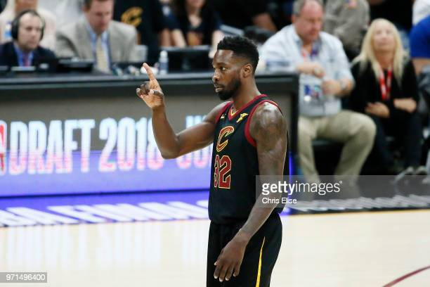 Jeff Green of the Cleveland Cavaliers reacts against the Golden State Warriors in Game Four of the 2018 NBA Finals won 10885 by the Golden State...