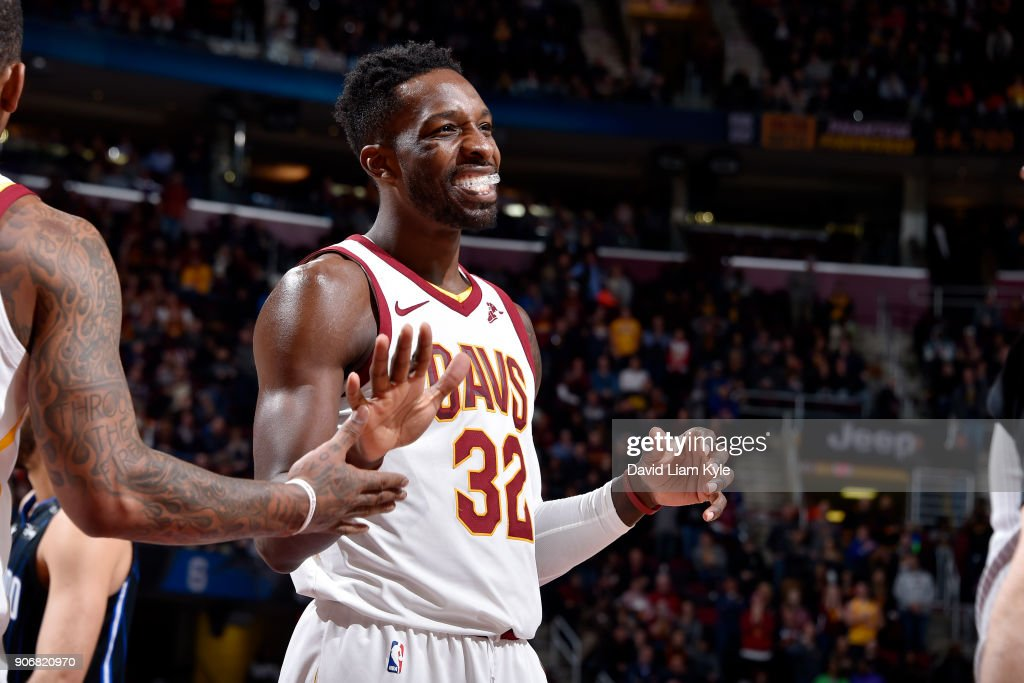 Jeff Green #32 of the Cleveland Cavaliers reacts during the game against the Orlando Magic on January 18, 2018 at Quicken Loans Arena in Cleveland, Ohio.