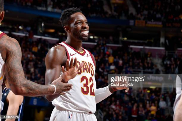 Jeff Green of the Cleveland Cavaliers reacts during the game against the Orlando Magic on January 18 2018 at Quicken Loans Arena in Cleveland Ohio...