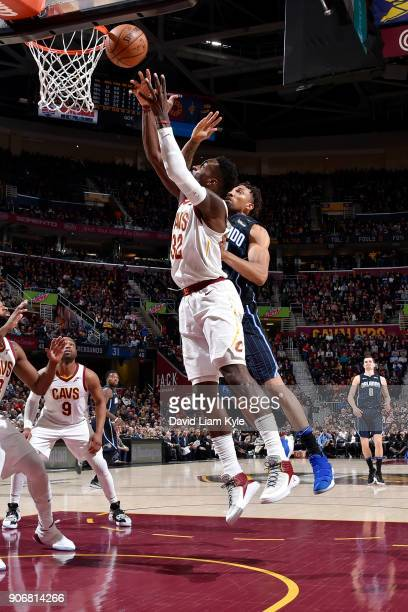 Jeff Green of the Cleveland Cavaliers rebounds the ball during the game against the Orlando Magic on January 18 2018 at Quicken Loans Arena in...