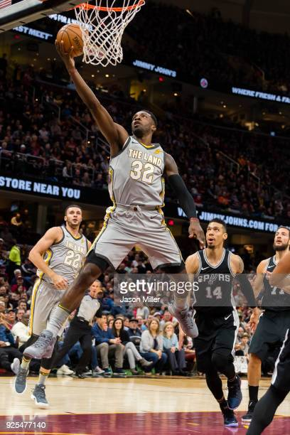 Jeff Green of the Cleveland Cavaliers scores during the first half against the San Antonio Spurs at Quicken Loans Arena on February 25 2018 in...